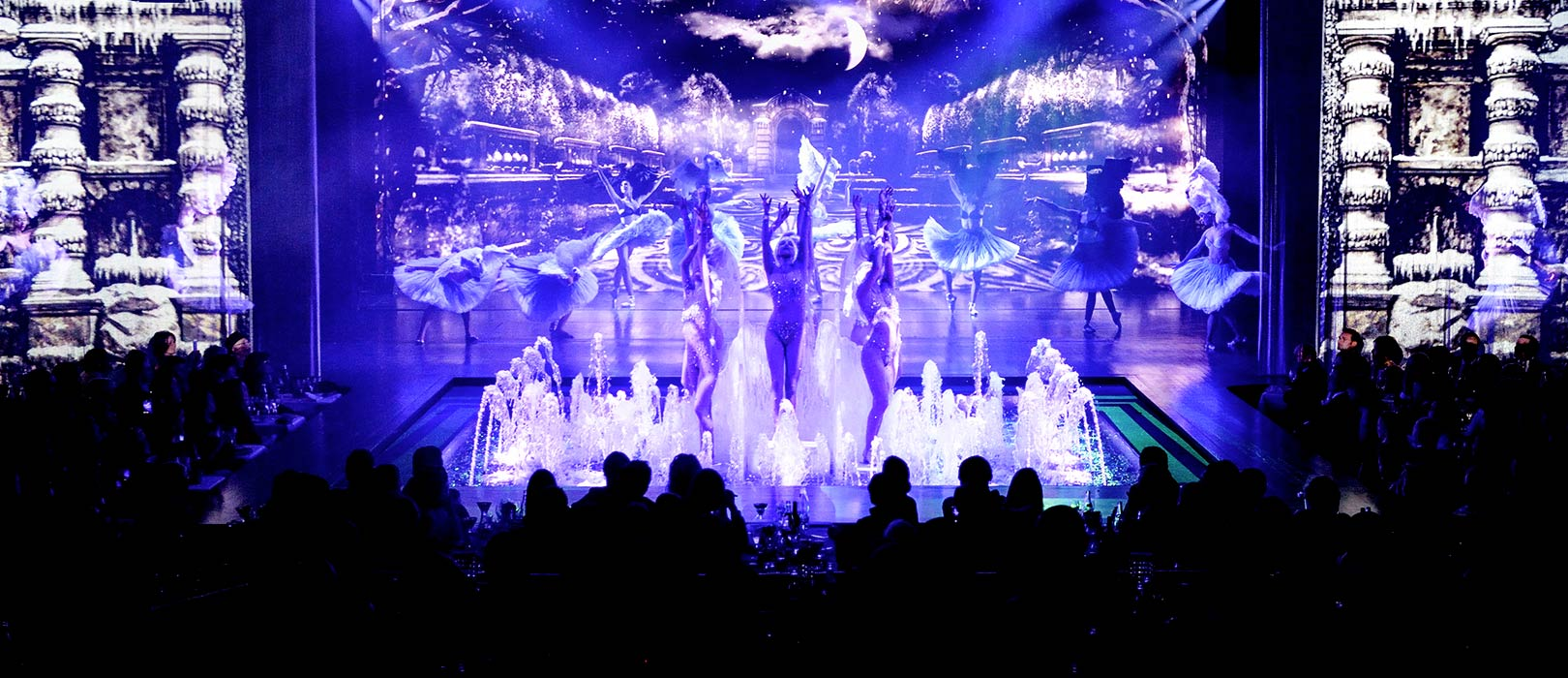 Waterfall view of the show